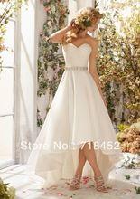 Hi Low Wedding Dress 2014 Short Front Long Back Organza Sweetheart Beading Belt off the Shoulder NW85(China (Mainland))