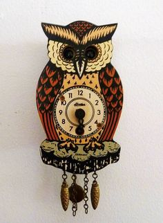 Vintage German Owl Clock