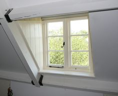 Dormer window roman blinds Windows, Blinds For Windows, Remodeling Projects, Attic Renovation, Dormer Windows, Window Roman Blind, Curtains, Roof Window, Dormers