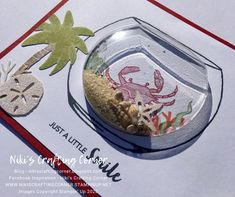 This card uses the Make A Splash stamp set and Snow Globe Shaker Domes from Stampin' Up! I included a couple older Paper Pumpkin stamp sets in this card as well. Globe Furniture, Plywood Furniture, Modern Furniture, Furniture Design, Nautical Cards, Holiday Greeting Cards, Shaker Cards, Animal Cards, Paper Pumpkin