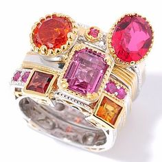 """Gems en Vogue II 7.00ctw Multi-Gemstone """"Vegas Stack"""" Ring"""