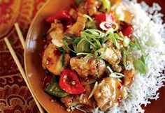 Sweet Chili Chicken—Warm and comforting, this colourful, ginger-scented, sweet and spicy chicken is best served with a bowl of plain steamed rice accompanied by stir-fried broccoli or bok choy. Sweet And Spicy Chicken, Sweet Chilli, Fried Broccoli, Asian Recipes, Healthy Recipes, Chicken Chili, Cashew Chicken, Chicken Rice, I Love Food