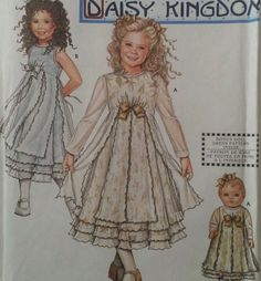 """Daisy Kingdom Sheer Overlay Dress Matching Doll Clothes 18"""" Sewing Pattern 9427 #Simlicity #TeaPartyHolidaysPeagantBowFloral #HolidayEasterChristmasDressUpCostumeParty"""
