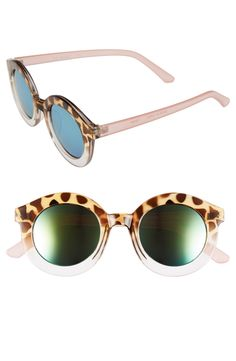 These round, oversized sunnies are sure to stand out in a crowd with tortoise and pink details.