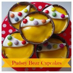 Perfect for selling at fund-raising events for Children in Need, here's How to make Pudsey Bear Cupcakes. Quick, easy and fun! Bear Cupcakes, Bear Cookies, Children In Need Cupcakes, Children In Need Biscuits, Bear Crafts, Kids Crafts, Giraffe Crafts, Yummy Things To Bake, Fun Things