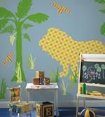 Retro Jungle Animals Wall Stickers - Monkeys with Funky Retro Print - Large Self-Adhesive Wall Murals for Kids