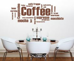Word Art Decor   Details about Coffee Words Kitchen Wall Art Sticker, Decal, Graphic ...