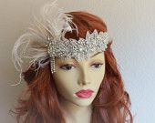 Great Gatsby wedding headband, Peacock feathers, Crystal rhinestone headband, Art Deco headband, Downton abby, wedding headband, champagne and ivory