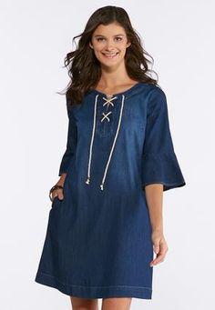 56daf7ba541 Cato Fashions Plus Size Lace Up Denim Dress  CatoFashions Cato Fashion Plus  Size