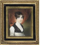 English School, Marianne Stephenson, wearing white dress with lace trim at the bust and black bodice, her dark hair parted and upswept, ca.1805