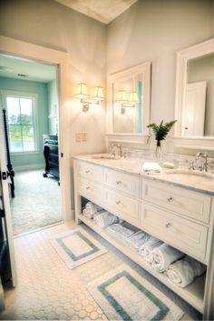 cabinets for boys J and J? Traditional Bathroom kids bathroom Design Ideas, Pictures, Remodel and Decor Childrens Bathroom, Bathroom Kids, Bathroom Renos, Laundry In Bathroom, Master Bathroom, Kids Bath, White Bathroom, Bathroom Storage, Jack And Jill Bathroom