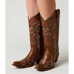 Circle G By Corral Embroidered Cowboy Boot - Brown US 10 ($128) ❤ liked on Polyvore featuring shoes, boots, brown, tall cowgirl boots, brown cowboy boots, embroidered western boots, brown boots and western boots