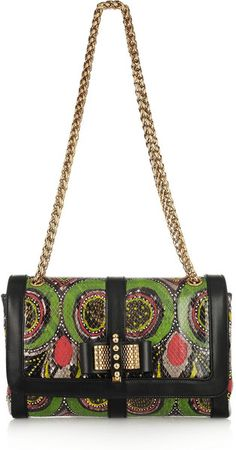 CHRISTIAN LOUBOUTIN Sweet Charity Small Printed Python Shoulder Bag - Lyst