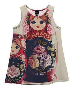 This White Matriozska Sublimation Dress - Toddler & Girls is perfect! #zulilyfinds