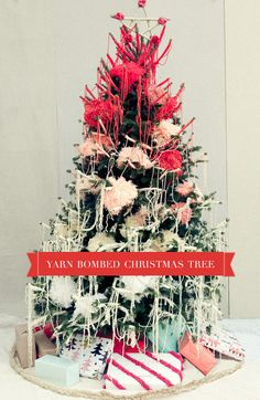 Yarn Bombed Christmas Tree - Maybe for a small tree next year?