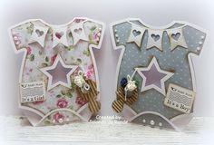 baby girl and baby boy onesie cards by Jolanda de Ronde