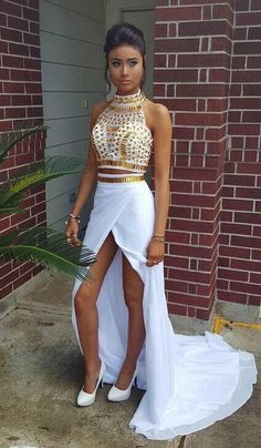 Two Piece High Neck Chiffon Prom Dresses Golden Crystals Front Slit Sexy Formal Party Dress