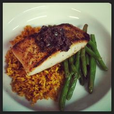 Seared Butterfish with Olive Tapenade served with Saffron Rice and Green Beans  from Redhound Grille, Paoli PA  www.redhoundgrille.com