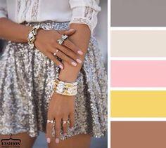 Greys, pink, yellow and light brown