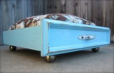 Upcycled Kitchen Drawer Pet Bed with Door Knob Feet - Shabby Chic Cottage Dog Bed / Cat Bed with Pillow. $125.00, via Etsy.