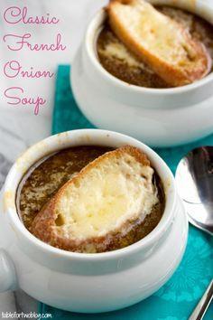 Classic French Onion Soup via tablefortwoblog.com