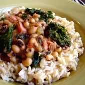 Black-Eyed Peas Recipe with Pork and Greens: Used bacon grease instead of bacon, omitted the ham and used regular canned tomatoes. Twice. S'wonderful (especially with kale)