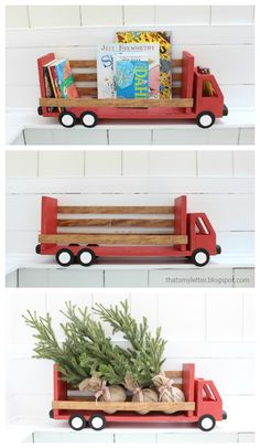 DIY truck bookshelf with free plans.  Build a truck shaped shelf.