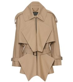 Burberry - Cotton gabardine short panelled trench coat - Burberry's cape-like jacket has been dubbed the 'short trench' by the brand. The draped piece has been crafted in Italy from durable cotton gabardine and features the classic epaulettes and belted cuffs of the label's iconic trench coat. We love the rich honey hue draped over silk separates – as styled on the London runway. seen @ www.mytheresa.com