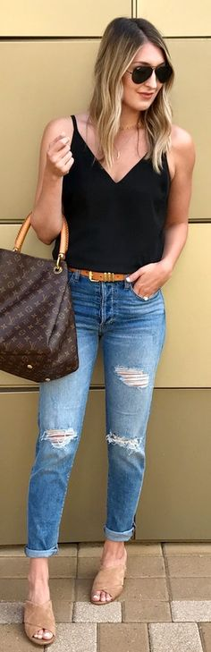 #Summer #Outfits / Beige Sandals + Ripped Jeans