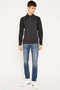 Farah Burrows Solid Navy Polo Shirt