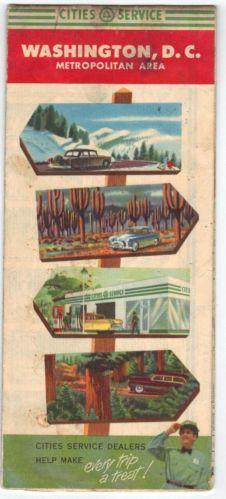 Vintage 1950's Washington DC CITIES SERVICE Road Map Petroliana Citgo Gas Oil