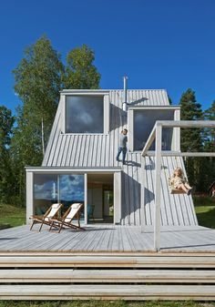 "Located in rural Sweden, Summer House in Dalarna is a triangular villa, designed by Leo Qvarsebo and described as ""a bit like a treehouse for adults"". A Frame Cabin, A Frame House, Green Architecture, Architecture Design, Pavilion Architecture, Sustainable Architecture, Residential Architecture, Contemporary Architecture, Sweden House"