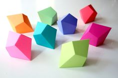 DIY Geometric Paper Ornaments - Set of 8 Paper Polyhedra Templates - Brights Palette. $25.00, via Etsy.