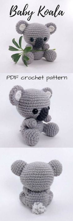 Aaaww... what a cute baby koala amigurumi crochet pattern! I love little crocheted stuffed toys and this is the perfect tiny stuffy to make! Koalas are so cuddly looking! #etsy #ad #pdf #instant #download #printable