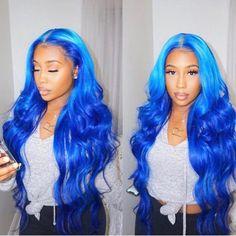Blue Wigs Lace Frontal Hair Bob Wig With Bangs Posh Spice Wig Burgundy Hair Dye - Modern Human Lace Front Wigs, Human Hair Lace Wigs, Human Wigs, Blue Wig, Hair Color Blue, Colored Hair, Colored Wigs, Weave Hair Color, Colored Weave
