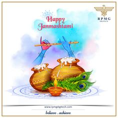 illustration of Lord Krishna playing bansuri (flute) in Happy Janmashtami festival background of India