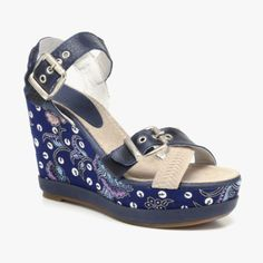 Printed Wedge Sandal In Indigo blue - fun! Dream Shoes, Crazy Shoes, Wedge Sandals, Wedge Shoes, Shoe Closet, Closet Space, Pretty Shoes, Dress And Heels, Shoe Boots