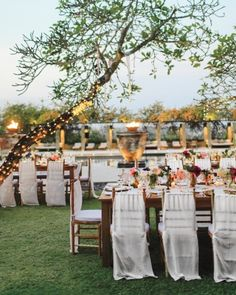 Tiny lights on the trees cast a soft, romantic glow over this outdoor reception