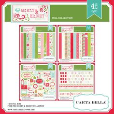 Trim your holidays projects with the cheerful designs and sugar plum inspired colors of this Christmas collection. 24 Patterned and solid papers (12X12 jpg),74 festive elements, 3 Alpha Sets, 3 number sets, 2 punctuation sets plus a border set.