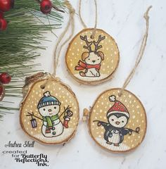Gift Toppers/Ornaments w wood slices. Neat & Tangled's Santa's Wonderland(snowma… Ornament Crafts, Christmas Projects, Holiday Crafts, Wooden Ornaments, Diy Christmas Ornaments, Christmas Decorations, Diy Xmas, Neat And Tangled, Wood Burning Crafts