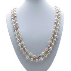 """Pearl Necklace, 48"""" Rope White Pink & Lavender Cultured Freshwater Pearls, Boxed Pearl Necklaces, Lavender, Fashion Outfits, Pearls, Pink, Ebay, Shopping, Jewelry, Fashion Suits"""