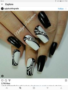 156 cute and cool summer nails designs ideas and images Long Nail Designs, Black Nail Designs, Colorful Nail Designs, Beautiful Nail Designs, Acrylic Nail Designs, Nail Art Designs, Stone Nails, Pink Nails, Gel Nails