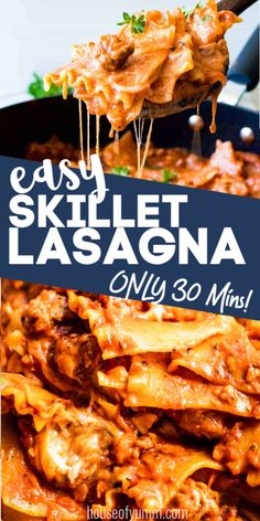 This family dinner dish only takes 30 MINUTES and ONE POT to make! This ultimate comforting and cheesy meal is so much easier than making a conventional lasagna. Best Pasta Recipes, Cheesy Recipes, Easy Dinner Recipes, Beef Recipes, Potluck Recipes, Veggie Recipes, Easy Family Meals, One Pot Meals, Kitchens