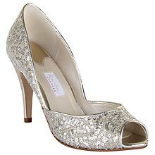 Buy Rainbow Couture Tamara Glitter Covered Peep Toe Shoes, Metallic Online at johnlewis.com