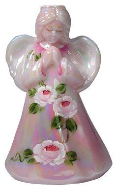 Handpainted Fenton glass angel