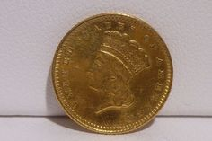 EXTREMELY RARE 1873 1$ Gold Liberty Close 3 Large Head 1 Dollar Type 3