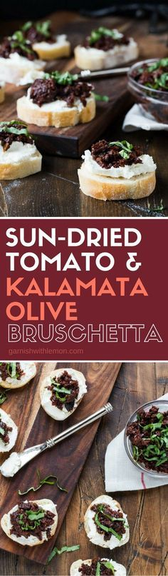 This Sun-dried Tomato and Kalamata Olive Bruschetta is a flavor packed appetizer that can be made ahead of time - perfect for entertaining! #appetizers #easyrecipe #partyfood #bruschetta #makeahead