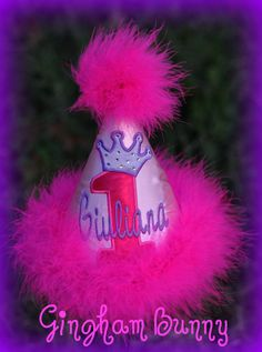 Lavender/Hot Pink  Birthday Hat Princess by ginghambunny on Etsy, $24.99