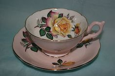 Foley bone china cup saucer - Pink set with Yellow Roses