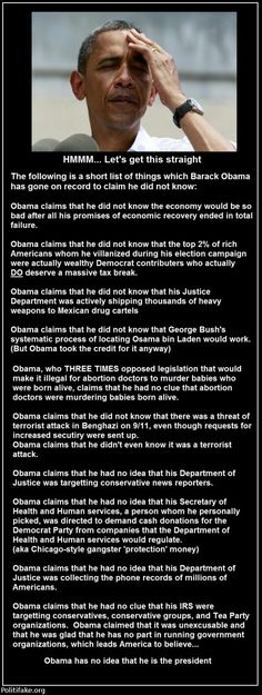 A short list of things which Barack Obama has gone on record to claim he DID NOT KNOW: